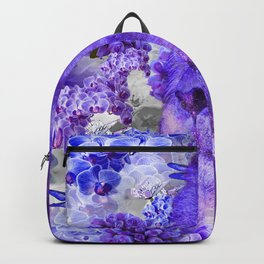 LION AND ORCHIDS  PURPLE AND BLUE FANTASY DREAM Backpack