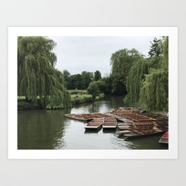 Punting Down the River Art Print