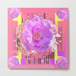 Coral Pink Rose Pattern Art Metal Print