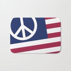 Peace and Love USA Flag Bath Mat