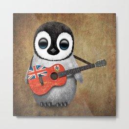 Baby Penguin Playing Bermudian Flag Acoustic Guitar Metal Print