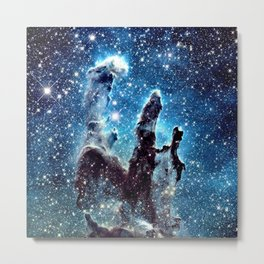 Pillars of Creation Nebula: Ocean Blue Galaxy Metal Print