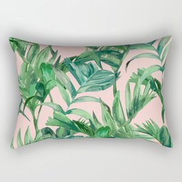 Green Plants Pastel Pattern Rectangular Pillow