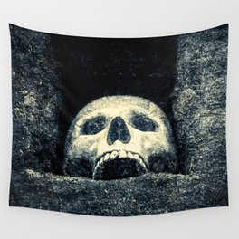 Old Human Skull In A Pagan Temple Wall Tapestry