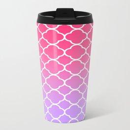 Pink & Lavender Ombre Quatrefoil Metal Travel Mug