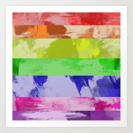 Rainbow Stripes - Abstract, textured, red, orange, yellow, green, blue, indigo, violet artwork Art Print
