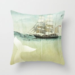 white tail, Moby Dick Throw Pillow