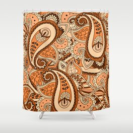 African Pattern No22 Brown Shower Curtain