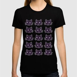 Cat Print Purple T-shirt