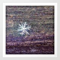 snowflake Art Prints featuring snowflake by Bonnie Jakobsen-Martin