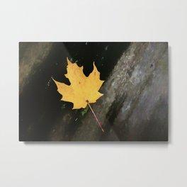Autumn Leaf on Log Painting Style Metal Print
