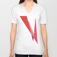 bowie V-neck T-shirts featuring Bowie by Paola Fischer