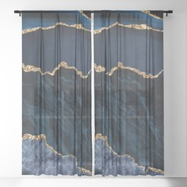 Beautiful Sapphire And Gold Marble Design Sheer Curtain