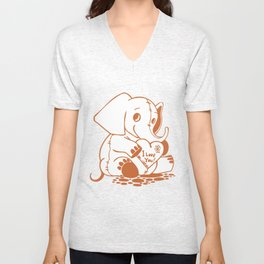 Valentine Elephant I Love You Unisex V-Neck