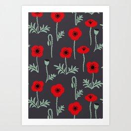 Red poppy flower pattern Art Print