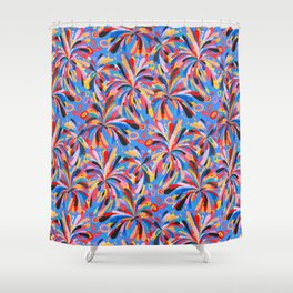 Colorful hand paint fireworks - blue Shower Curtain