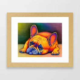 Colorful French Bulldog Rainbow Dog Pet Portrait Framed Art Print