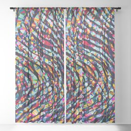 Wavy Lines Low Poly Geometric Triangles Sheer Curtain