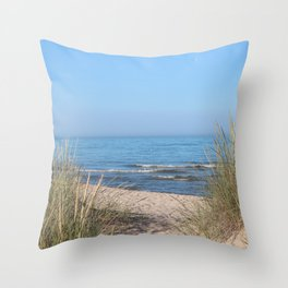 Relaxing at the beach Throw Pillow