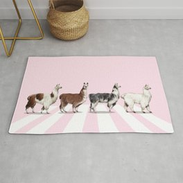 Llama The Abbey Road Pink Rug