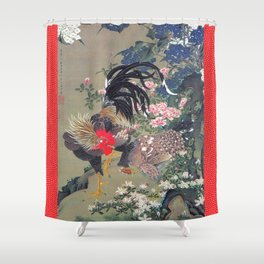 Jakuchu Niwatori Rooster Shower Curtain