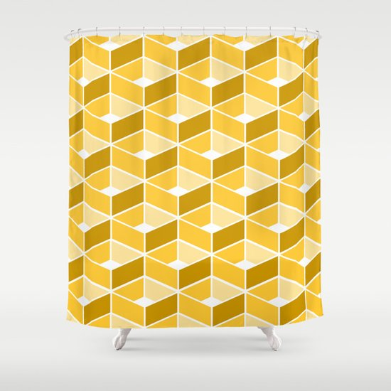 Simple Pattern Yellow Shower Curtain