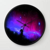 nebula Wall Clocks featuring nEbulA : Horsehead Nebula Fuchsia & Violet by 2sweet4words Designs