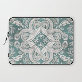 Teal and grey dirty denim textured boho pattern Laptop Sleeve