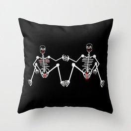 Skeleton Fafa & Fifi Male female Throw Pillow