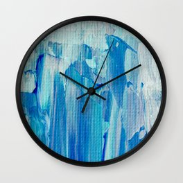 Abstract Blue Acrylic Painting With Brush Strokes Wall Clock