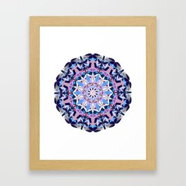 blue grey white pink purple mandala Framed Art Print