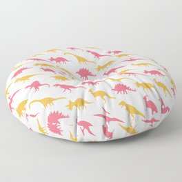 Yellow and Pink Dinosaurs Floor Pillow