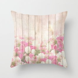 Beautiful Pink Tulip Floral Vintage Shabby Chic Throw Pillow