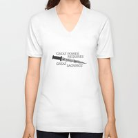 ouat V-neck T-shirts featuring OUAT Quote |Great power requires great sacrifice by CLM Design