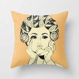 The woman with the curlers Throw Pillow