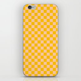 Deep Peach Orange and Amber Orange Checkerboard iPhone Skin