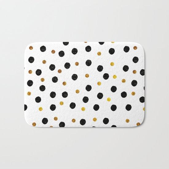 Black & Gold Glitter Confetti on white background- Elegant pattern Bath Mat