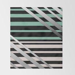 Striped green gray Throw Blanket