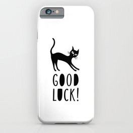 Black cat wishes good luck iPhone Case