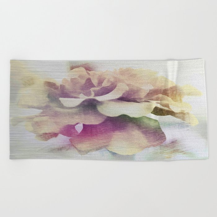 Moonlit Floral Abstract Beach Towel