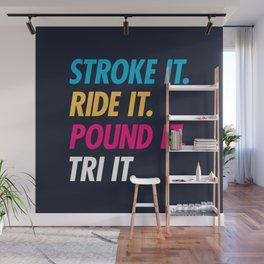 Stroke It Ride It Pound It Tri It Wall Mural