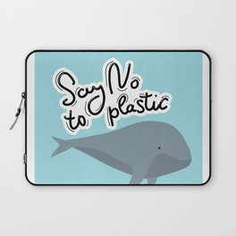 Say no to plastic. Whale, sea, ocean.  Pollution problem concept Eco, ecology banner poster. Laptop Sleeve