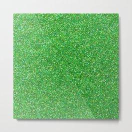 Shiny Glitter, Sparkling Glitter Glow - Green Metal Print