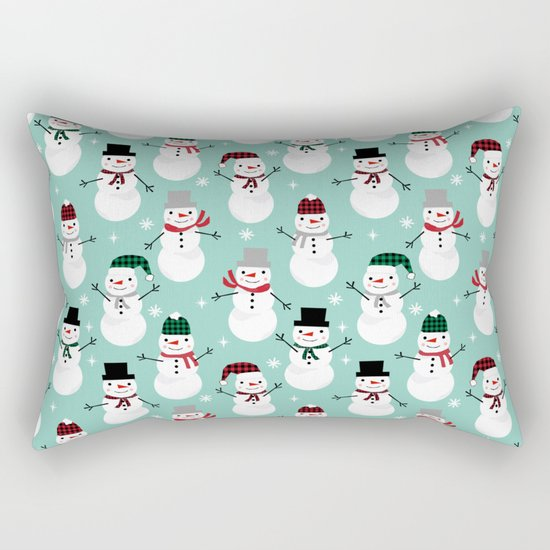 Snowman gender neutral mint white and black holiday pattern kids room decor seasonal Rectangular Pillow