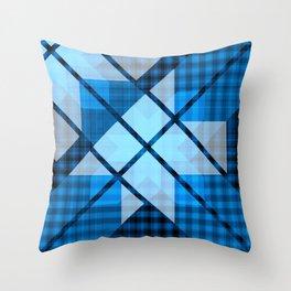Abstract Geometric Blue Plaid Design Throw Pillow