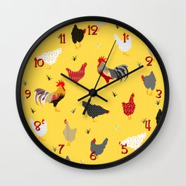 Chicken Farm Modern Geometric Memphis Style - Yellow Black Red Wall Clock