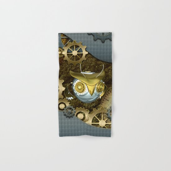 Steampunk, awesome owl Hand & Bath Towel