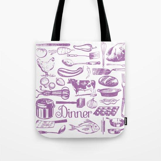 Retro Dinner - White Tote Bag