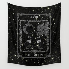 "Tarot ""The Moon"" - silver- cat version Wall Tapestry"