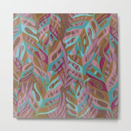 Tropical Burst, pink and green leaf pattern Metal Print